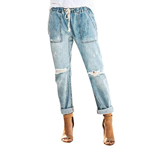 WOZOW Jeans Damen Zerrissene Destroyed Ripped Washed Destroyed Distressed Loose Lose Denim Long Lang Straight Leg Freizeithose Stoffhose Casual High Waist Slim Trousers (2XL,hellblau)