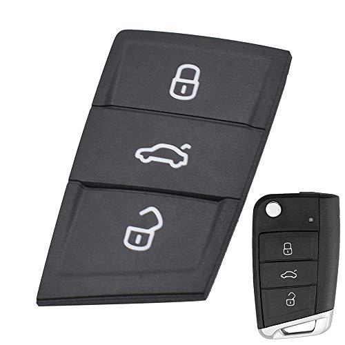 XUKEY 3 Tasten Autoschlüssel Case Haut für Polo Golf 7 MK7 Tiguan Octavia Kodiaq Karoq Fabia Ateca Leon Ibiza 2016 2017 2018 2019 Pad Gummi Reparatur Schlüsselanhänger