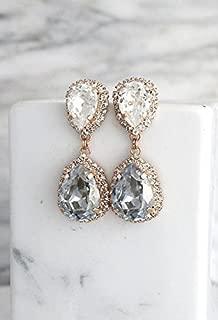 Bridal Dusty Blue and White Chandelier Dangle Earrings, Swarovski Crystal Bridesmaids Gold Stud Teardrop Earrings, Handmade Wedding Jewelry