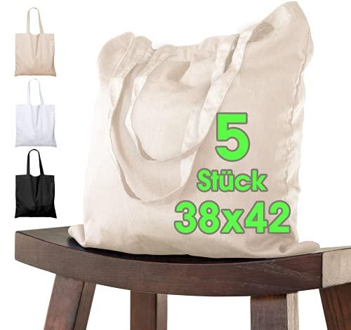 Bolsa de algodón 38x42 cm 5 piezas sin imprimir, dos asas largas con certificación OEKO-TEX® Bolsa de tela, bolsa de transporte, bolsa de algodón, bolsa de compras, bolsa de yute, Naturaleza