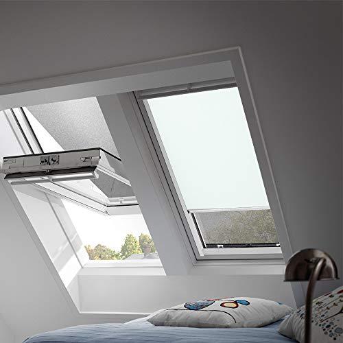 Preisvergleich Produktbild VELUX Original Verdunkelungsrollo für Dachfenster mit weißen Seitenschienen,  FK04,  Uni Pastellblau / DKL FK04 4555SWL