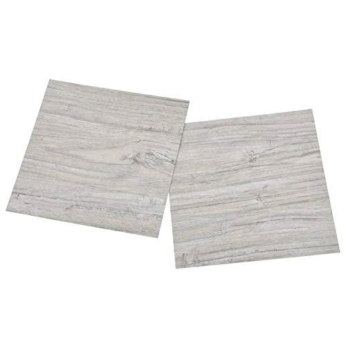 vidaXL 55x PVC-Fliesen Selbstklebend Vinyl-Fliesen Bodenbelag Vinylboden Laminat Dielen Laminatboden Fußboden Fliese Wohnzimmer 5,11m² Hellgrau
