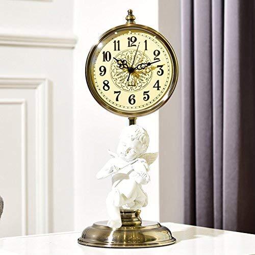 GFF Engel Uhr Ornamente, Europäische Kreative Uhr Wohnzimmer Pendeluhr, Dekorative Schlafzimmer Stumm Uhr Handwerk Retro Tischuhr Dekoration (16 * 40 cm)