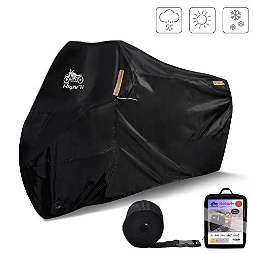 Highfii cubierta de motocicleta para todas las estaciones impermeable 300D Premium cubierta para bicicleta se adapta a hasta 97 pulgadas (XXL)