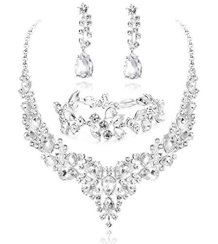 Milacolato Kristall Brautschmuck Set für Frauen Strass Halskette Ohrringe Armband Hochzeit Brautjungfer Geschenke Passen mit Hochzeitskleid