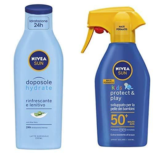 Nivea Sun Kids Protect & Play Maxi Spray Solare FP50+ per Bambini, 300 ml + Nivea Sun Latte Doposole Hydrate, Rinfrescante e Lenitivo con Aloe Vera, 200 ml
