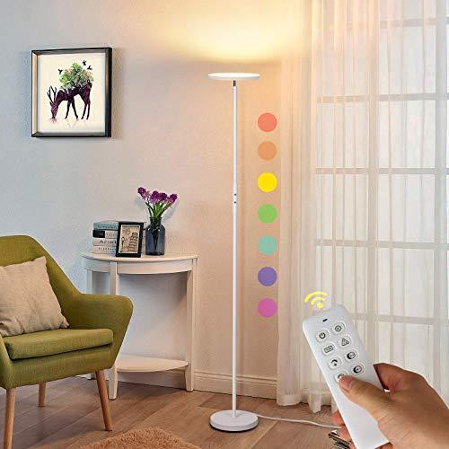 Albrillo LED Deckenfluter Stehlampe - Stufenlos Dimmbar LED Stehleuchte mit RGB und Fernbedienung, 3000K-5000K, 3 Farbe Modi, Modern Farbwechsel Standlampe für Wohnzimmer Schlafzimmer Büro, Weiß, 20W