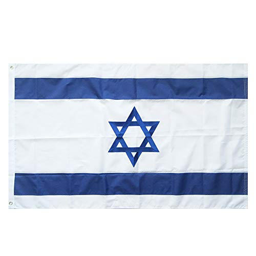 Lixure Israel Flagge/Fahne Top Qualität Stickerei für Windige Tage 150 x 90 cm Nationalflagge-Durable 210D Nylon Draußen/Drinnen Dekoration Flagge MEHRWEG