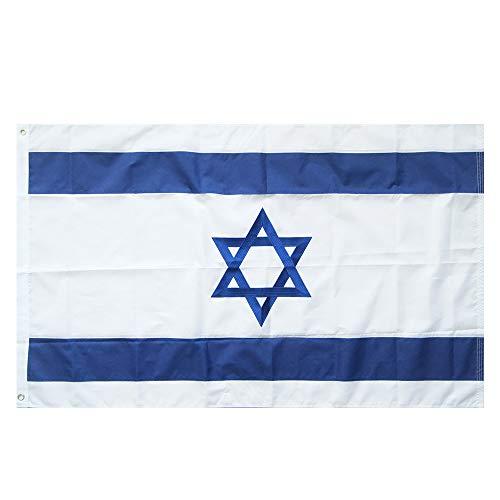 Lixure Israel Flagge/Fahne Top Qualität Stickerei für Windige Tage 150 x 90 cm Nationalflagge-Durable 210D Nylon Draußen/Drinnen Dekoration Flagge MEHRWEG