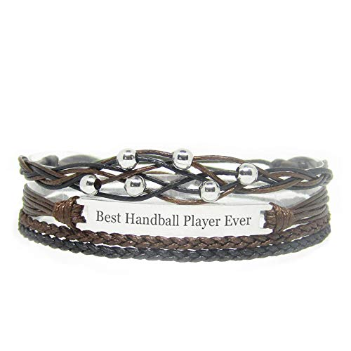 Miiras handgemachtes Armband für Frauen - Best Handball Player Ever - Schwarz - Aus Geflochtenes Seil und Rostfreier Stahl - Geschenk für Handballspieler