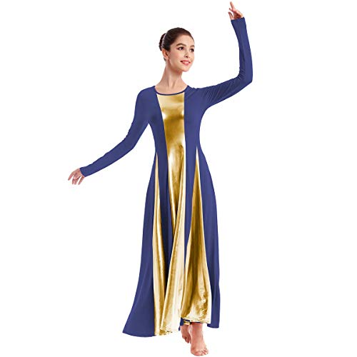 IBAKOM Womens Praise Loose Fit Full Length Long Sleeve Dance Dress for Adult Color Block Liturgical Swing Gown Ruffle Tunic Circle Skirt Costume Navy Blue+Gold S
