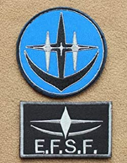 2pcs Mobile Suit Gundam E.F.S.F. Mobile Suit Gundam UC Unicorn Londo Bell Cospa Military Patch Fabric Embroidered Badges Patch Tactical Stickers for Clothes with Hook & Loop (2pcs)