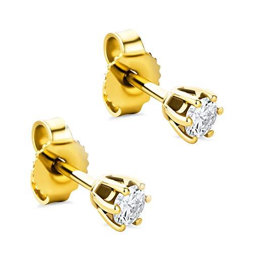 Orovi Damen Ohrringe mit Diamanten Gelbgold Solitär Ohrstecker 14 Karat (585) Gold und Diamant Brillanten 0.25 Ct Ohrring Handgemacht in Italien