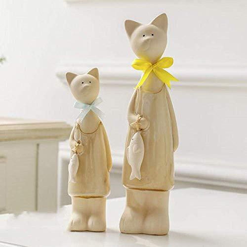 DSENIW QIDOFAN Crafts Decoraciones del Arte del Arte Dos Gatos de cerámica Adornos Animales caseros Parejas Regalos de cumpleaños Muebles for el televisor