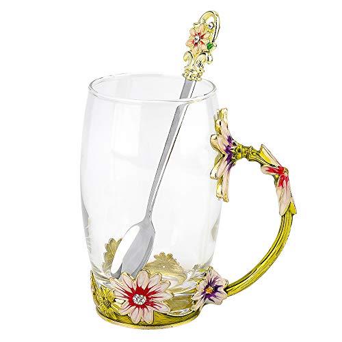COAWG Teetasse aus Glas Chrysanthemenblüten Blumen-Teetasse Tee & Kaffeetasse Lehrer Freund Geburtstag Frauen und Männer-12oz