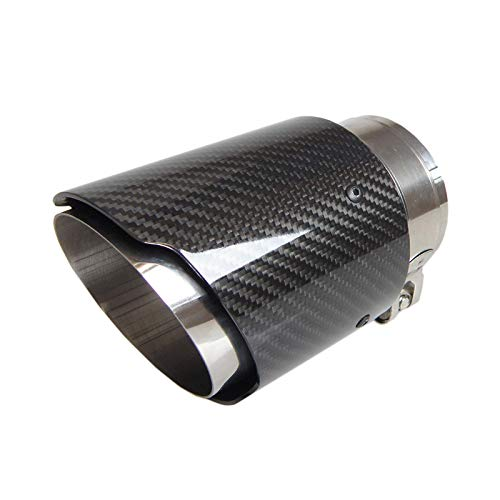 DFGSDRDY 1PCS Fibra de Carbono Brillante Universal para automóvil y Acero Inoxidable 304 Punta de silenciador de Escape de Fibra de Carbono para automóvil Tubo de Extremo Trasero sin Logotipo