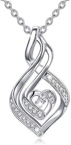 Natural Diamond Infinity Swirl Necklace Sterling Silver Heart Pendant Necklace Love Jewelry product image