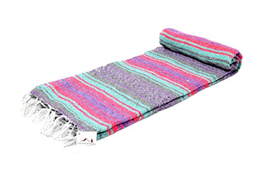 Light Pastel Mexican Falsa Blanket - Pink Grey Purple and Mint / Teal - Great as a Beach Blanket, Picnic Blanket, Yoga Blanket, or a Throw! Handwoven