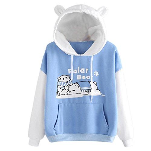 Ronamick Damen Kapuzenpullover Lange Ärmel Hoodie Pullover Damen Bluse Langarm Sweatshirt Polar Bear Drucken Känguru Pocket Hoodie (Weiß, L)