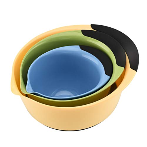 YARNOW 3pcs Plastic Mixing Bowl Set Nesting Mixing Bowls with Rubber Grip Handles Easy Pour Spout and Non Slip Bottom for Kitchen Baking or Salad