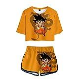 Dragon Ball Anime Son Goku Camiseta Pantalones Cortos del Verano Chándal De 2 Unidades Trajes Pantalones Cortos+Blusas De Los Cultivos Chándales Deportiva Conjuntos