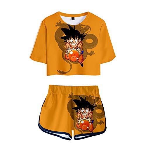 Dragon Ball Rapper Cartoon Son Goku Trainingsanzug Sommer Tops + Sport Kurze T-Shirt Shorts Tracksuit Sportswear-Sets für Damen