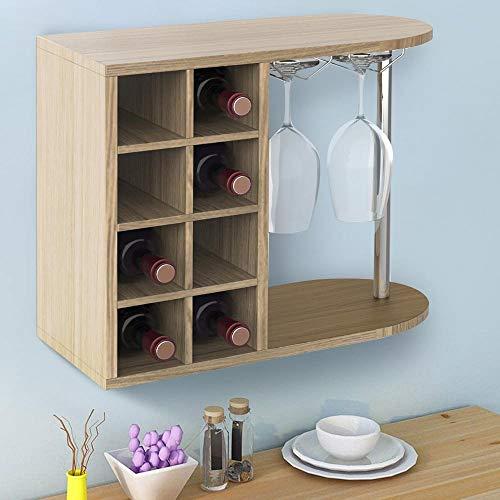 Bakaji Estantería botellero Vino licores de Pared o Mesa, Estructura de Madera botellero con 2 estantes 8 plazas botelleros y Estante Porta Copas de Metal 42 x 52 x 28 cm (Roble)