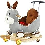 Kibten Ride On Toy eje de balancín de la niña del niño del caballo mecedora de Kid burro Rocker pequeños mecedora juguete Silla de madera mecedora mecedora infantil Animal Animal cubierta al aire libr