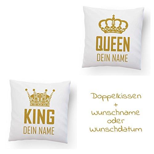 DESIGN82 Berlin Doppelkissen King & Queen + Namen oder Datum, 40x40cm, Mit Namen, Premiumkissen