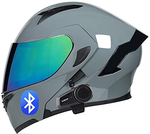 SJAPEX Bluetooth Integrado Casco de Moto Modular con Doble Anti Niebla Visera Cascos de Motocicleta ECE Homologadose Pueden Conectar Varios Intercomunicadores Bluetooth C,XL=61~62cm