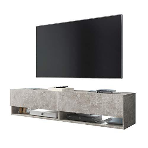 Selsey Wander - Mueble TV Suspendido/Mesa TV/Mueble para Salón (140 cm, sin LED, Cemento Gris)