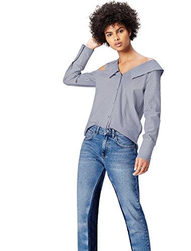 Marca Amazon - find. Camisa Asimétrica Oversize de Rayas para Mujer, Multicolor (Blue/white Stripe), 36, Label: XS