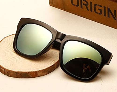 Secuos Moda Gafas De Sol De Moda Mujer Espejo Diseñador De La Marca Negro Revestimiento Lente Gafas De Sol Cuadradas Uv400 Oro