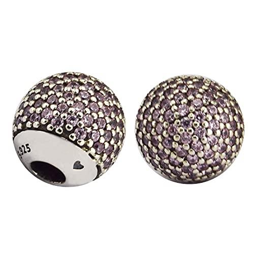 LILANG Pandora 925 Jewelry Bracelet Cuentas Naturales para Hacer brazaletes Abiertos de Plata esterlina con Abalorios de Cuentas Rosa Cz Silver Berloque Perles Women DIY Gift