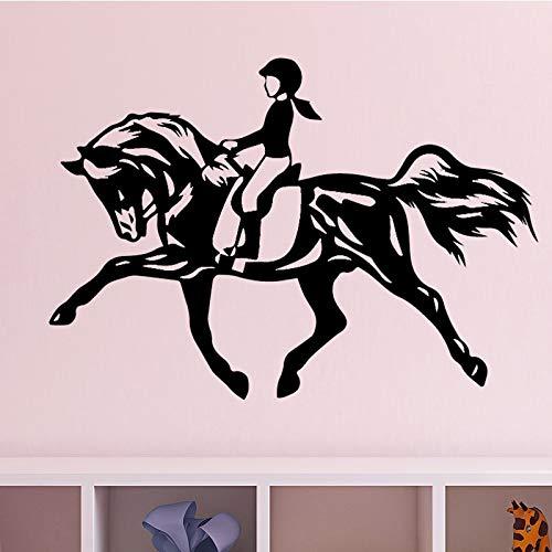 Vinilo dormitorio decoración de la pared pegatina de pared pegatina papel tapiz autoadhesivo caballo chica caballo pegatina de pared mural A2 43x67cm