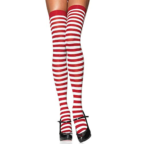 LEG AVENUE 6005 - Overknee Halterlose Strümpfe Mit Streifen, Einheitsgröße (EUR 36-40), weiß/rot, Damen Karneval Kostüm Fasching