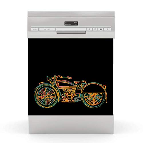 wodtke-werbetechnik Spülmaschinen Aufkleber Motorrad schwarz