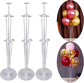 Balloon Stand Holder Kit,Ballon Column Stand Including 21 Sticks 21 Cups and 3 Base Table Desktop Holder Durable and Reusable for Birthday Wedding Party Decorations Supplies 3 Set