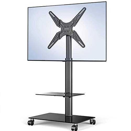TV Stand Mobile Cart 2 Shelves Floor On Wheels For 19' 60' Tiltable Bracket Adjustable Heights Holds 35Kgs/77Lbs Cable Management Display Trolley
