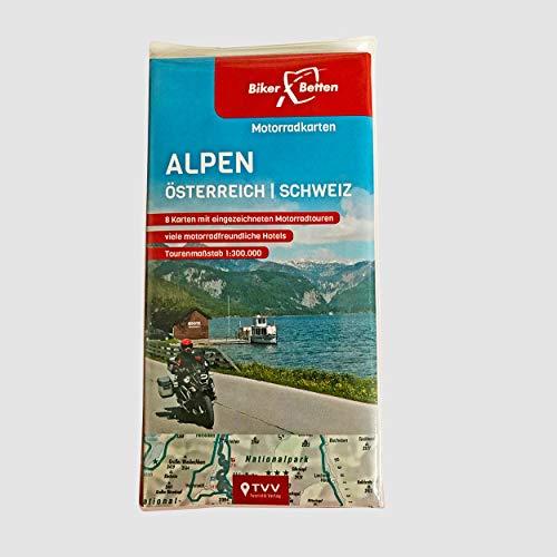 Motorradkarten Set Alpen Österreich Schweiz: BikerBetten Tourenkarten 1:300 000