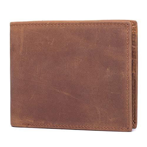 Billetera de Cuero Crazy Horseskin para Hombre Billetera Retro Valentine's Day Esposa, Esposo, Padre, Madre,