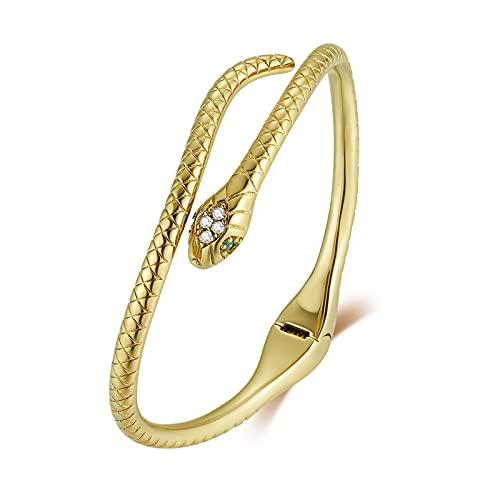 Qings Brazalete Serpiente Oro Pulsera Serpiente Retro Snake Bnagle Brazalete Abierto Oro Envoltura Estilo Egipcio Pulsera Circonita Verde Joya Serpiente Regalo para Mujer Niña