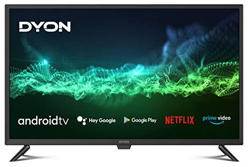 DYON Smart 32 AD Téléviseur HD Triple Tuner, Google Play Store, Google Assistant, Prime Video, Netflix, télécommande BT avec Micro [Année modèle 2021]