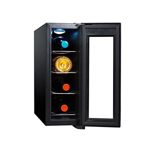 Nuitab 4 flessen wijnkoelkast wijnkoeler koeler 11-18 °C temperatuurzone drankjes koelkast glazen deur past slaapkamer kantoor keuken eetkamer 50 × 16,5 × 44,5 cm