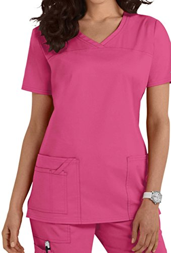 Smart Uniform 1122 V Neck Top (L, Rosa [Pink] 1)