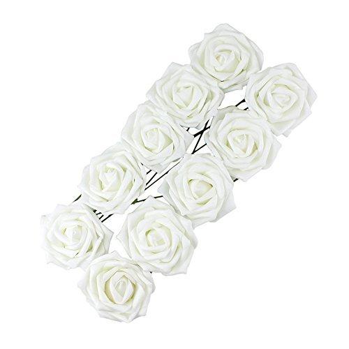 Yonger Classic White Rose Flowers Romantic Bridal Bouque Wedding Party Home Decoration Bridesmaid Bridal Bouquet 10pcs White Silk Flower Arrangements