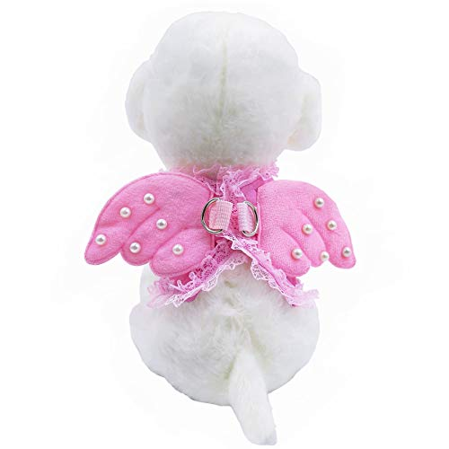 M2cbridge Pink Dog Puppy Harness Leash Collar Cat Vest Strap with Angel Wings (XS)