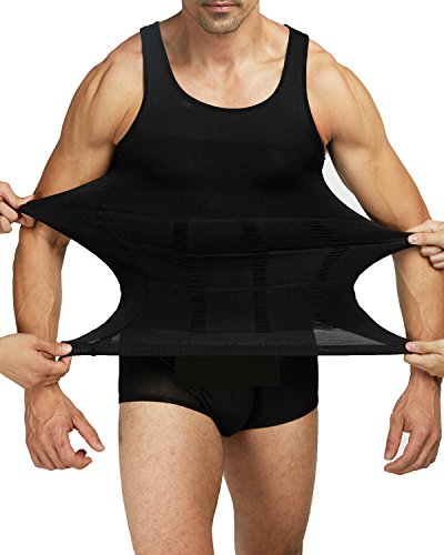Shaxea Mens Slimming Body Shaper Vest Shirt Tank Top Compression Shirt, Shapewear for Men (S, Black)