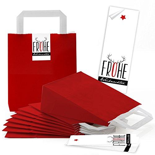 25 rote kleine Papiertüten Papiertaschen Boden u. Henkel 18 x 8 x 22 cm + 25 Banderolen Aufkleber 5 x 15 cm Weihnachten Hirsch-Geweih rot grau schwarz als Weihnachtstüte Geschenktüte