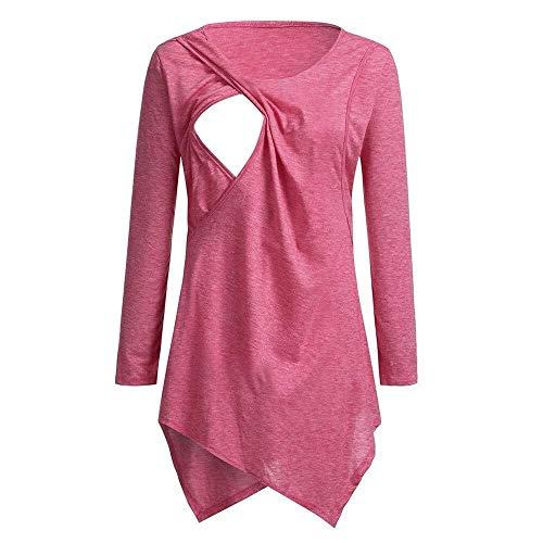 Vrouwen Zwangerschap Circular Collar T-shirt Maternity zogende baby Tops Kleren (Color : Red, Size : XXL)